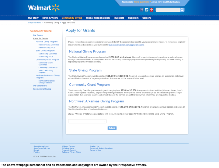 Product Donation Guide: Walmart (Grants)